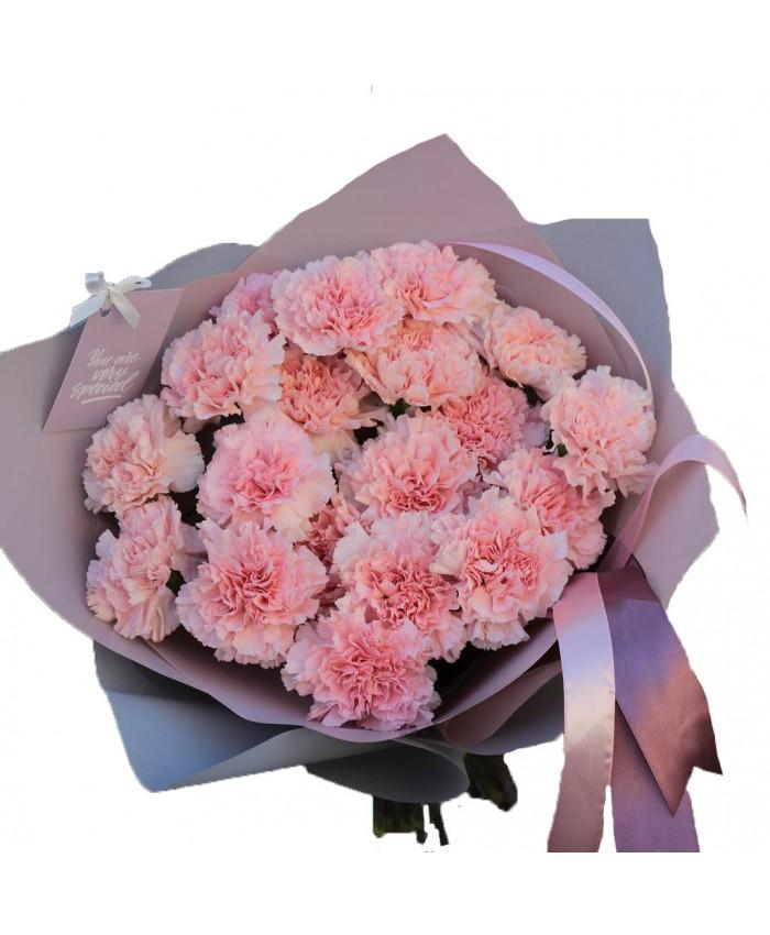Букет из 17 розовых гвоздик