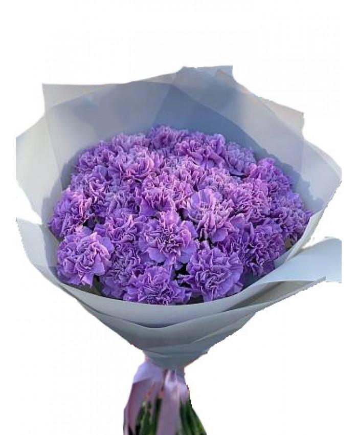 Букет из 27 фиолетовых гвоздик