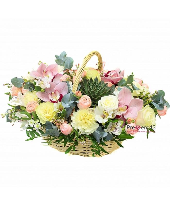 """Корзина с цветами """"Утренняя улыбка"""""""
