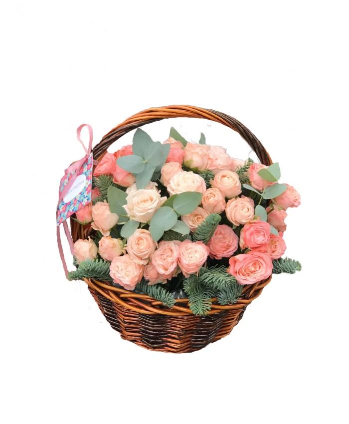 """Корзина с кустовыми розами """"Пинк"""""""